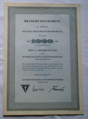1000 Reichsmark Aktie Junkers Flugzeug-und Motorenwerke München Dez 1960(122396)