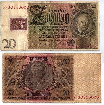 20 Mark Banknote DDR Deutsche Notenbank 1948 Kuponausgabe Ro.Nr.335 (108790)