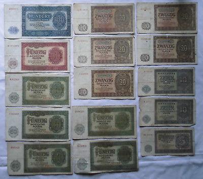 15 Banknoten Deutsche Notenbank DDR 1948-1955 (116763)