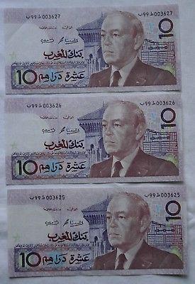 3 x 10 Dirhams Banknoten Bank Al-Maghrib Marokko (118249)