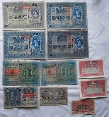 11 Banknoten Österreichisch Ungarische Bank 1902-1924 (115954)