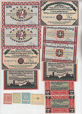 14 Banknoten Notgeld Stadt Pasing 1918 (113554)