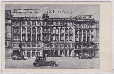 87171 AK Leipzig - Hotel Sedan und Monopol davor Automobile (Lindegreen) um 1920