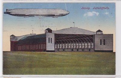 78139 AK Leipzig - Luftschiffhalle mit Zeppelin 1917