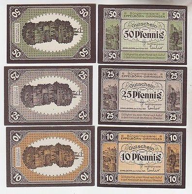 6 Banknoten Notgeld Eppelborn Dirmingen 1921 (113508)