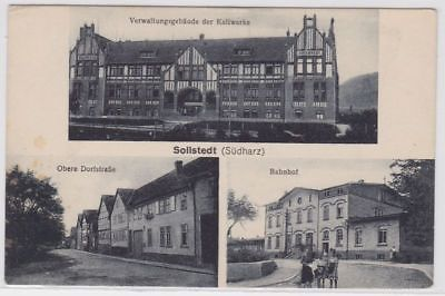 87699 Mehrbild Ak Sollstedt (Südharz) Bahnhof usw. um 1920