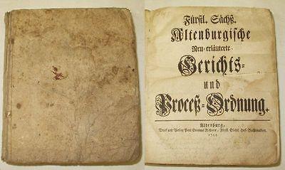 Altenburgische Gerichts und Proceß Ordnung 1744 (17902)