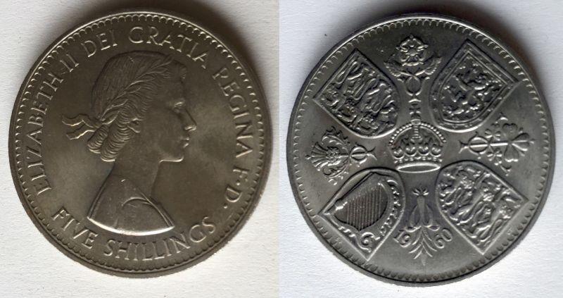 5 Schilling Crown Nickel Münze Großbritannien 1960 Mit 4 Wappen