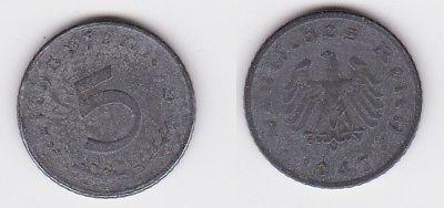 5 Pfennig Zink Münze alliierte Besatzung 1947 D Jäger 374 (123351)