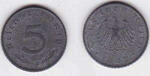 5 Pfennig Zink Münze alliierte Besatzung 1947 D Jäger 374 (123256)