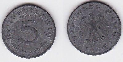 5 Pfennig Zink Münze alliierte Besatzung 1947 D Jäger 374 (122911)