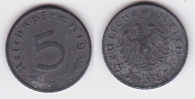5 Pfennig Zink Münze alliierte Besatzung 1947 D Jäger 374 (121996)