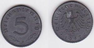 5 Pfennig Zink Münze alliierte Besatzung 1947 D Jäger 374 (122963)