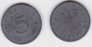 5 Pfennig Zink Münze alliierte Besatzung 1947 D Jäger 374 (121308)