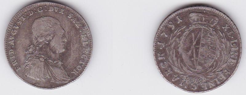 1/3 Taler Silber Muenze Sachsen 1791 IEC (120913)