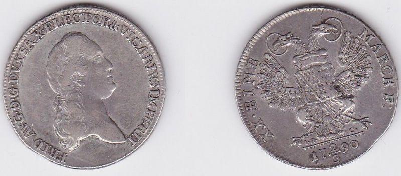 2/3 Taler Silber Muenze Sachsen Vikariatspraegung 1790 IEC (122707)