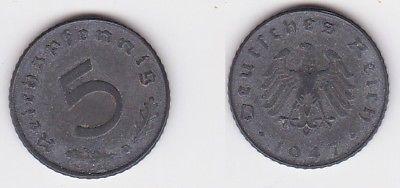5 Pfennig Zink Münze alliierte Besatzung 1947 D Jäger 374 (121542)