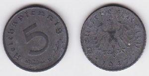 5 Pfennig Zink Münze alliierte Besatzung 1947 D Jäger 374 (120162)