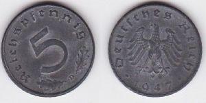 5 Pfennig Zink Münze alliierte Besatzung 1947 D Jäger 374 (122851)