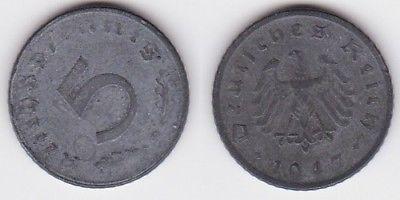 5 Pfennig Zink Münze alliierte Besatzung 1947 D Jäger 374 (120697)