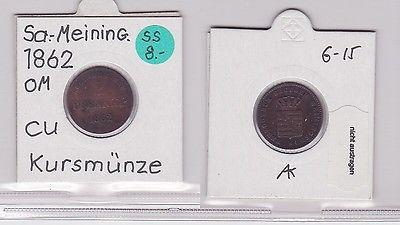2 Pfennig Kupfer Münze Sachsen-Meiningen 1862 (120260)