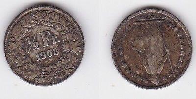 1/2 Franken Silber Münze Schweiz 1908 B (122682)