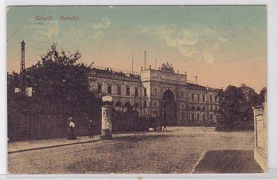 89114 Ak Gera Reuss Bahnhof mit Litfasssäule 1915