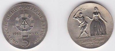 DDR Gedenk Münze 5 Mark Caroline Neuber 1985 (122719)