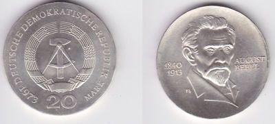 DDR Gedenk Münze 20 Mark August Bebel 1973 Silber (123259)