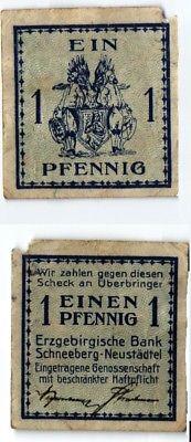 1 Pfennig Banknote Notgeld Erzgebirgische Bank Schneeberg Neustädtel (123898)