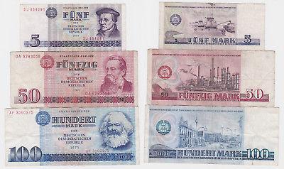 5, 50 und 100 Mark Banknote DDR Deutsche Staatsbank 1971-1975 (123671)