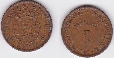 1 Escudo Bronze Münze Mosambik Moçambique 1973 (123276)