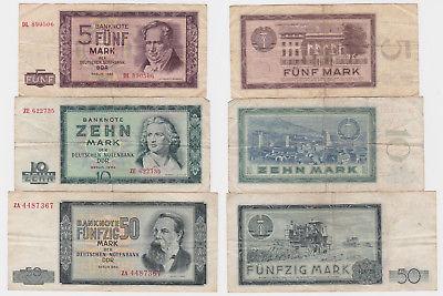 5, 10 und 50 Mark Banknote DDR Deutsche Notenbank 1964 (123681)