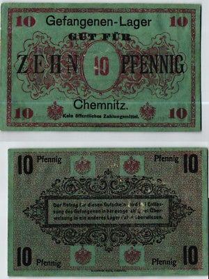 10 Pfennig Banknote Gefangenenlager Chemnitz 1.Weltkrieg (124020)