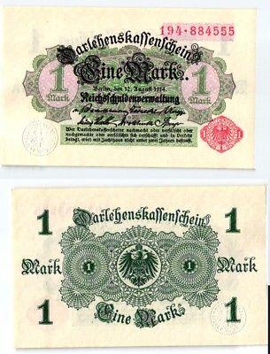 1 Mark Banknote Darlehnskassenschein 12.8.1914 Rosenberg 51 A (123891)