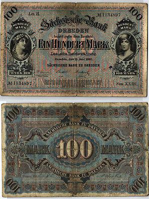 100 Mark Banknote sächsische Bank Dresden 15.06.1890 (123989)