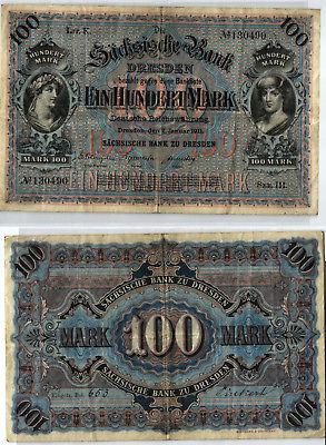 100 Mark Banknote sächsische Bank Dresden 02.01.1911 (123968)