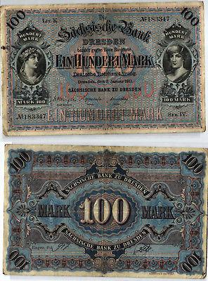 100 Mark Banknote sächsische Bank Dresden 02.01.1911 (123981)