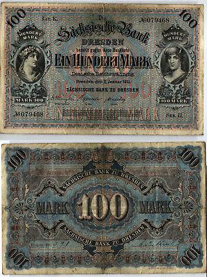 100 Mark Banknote sächsische Bank Dresden 02.01.1911 (123982)