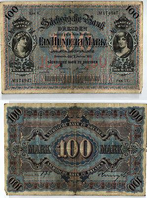 100 Mark Banknote sächsische Bank Dresden 02.01.1911 (123983)