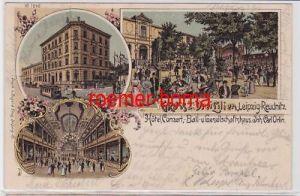 87025 Ak Lithographie Gruss aus den Drei Lilien Leipzig Reudnitz 1902