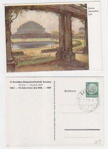 67316 Ak Ganzsache 12. Dt. Sängerbundesfest Breslau 1937 Jahrhunderthalle