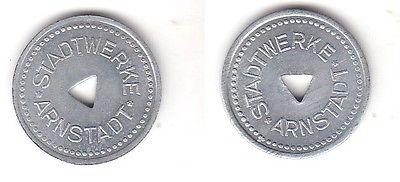 Alte kleine Zink Wertmarke Stadtwerke Arnstadt um 1920  (111300)
