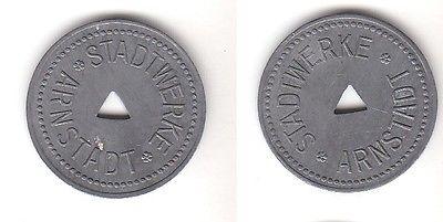 Alte große Zink Wertmarke Stadtwerke Arnstadt um 1920  (112203)