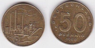 50 Pfennig Messing Münze DDR 1950 Pflug vor Industrielandschaft (122115)