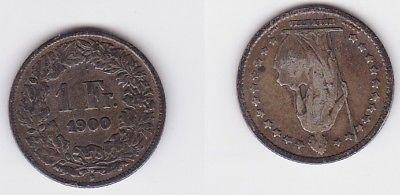 1 Franken Silber Münze Schweiz 1900 B (120484)