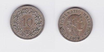 10 Rappen Kupfer Nickel Münze Schweiz 1885 B (117973)