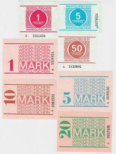 Seltener Satz DDR 7 Banknoten Gefängnisgeld um 1990 (123542)