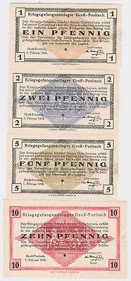 4 Banknoten Kriegsgefangenenlager Groß-Poritsch 1.Februar 1916 (123624)