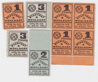 5 x 1,2 & 2 x 3 Pfennig Banknoten Notgeld Stadtrat Mühldorf 1921 (123582)
